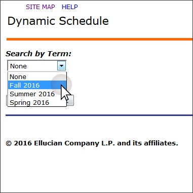 Banner Self-Service Dynamic Search by Term Dropdown.