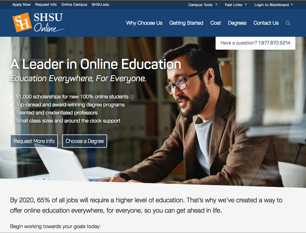 SHSU Online screencap