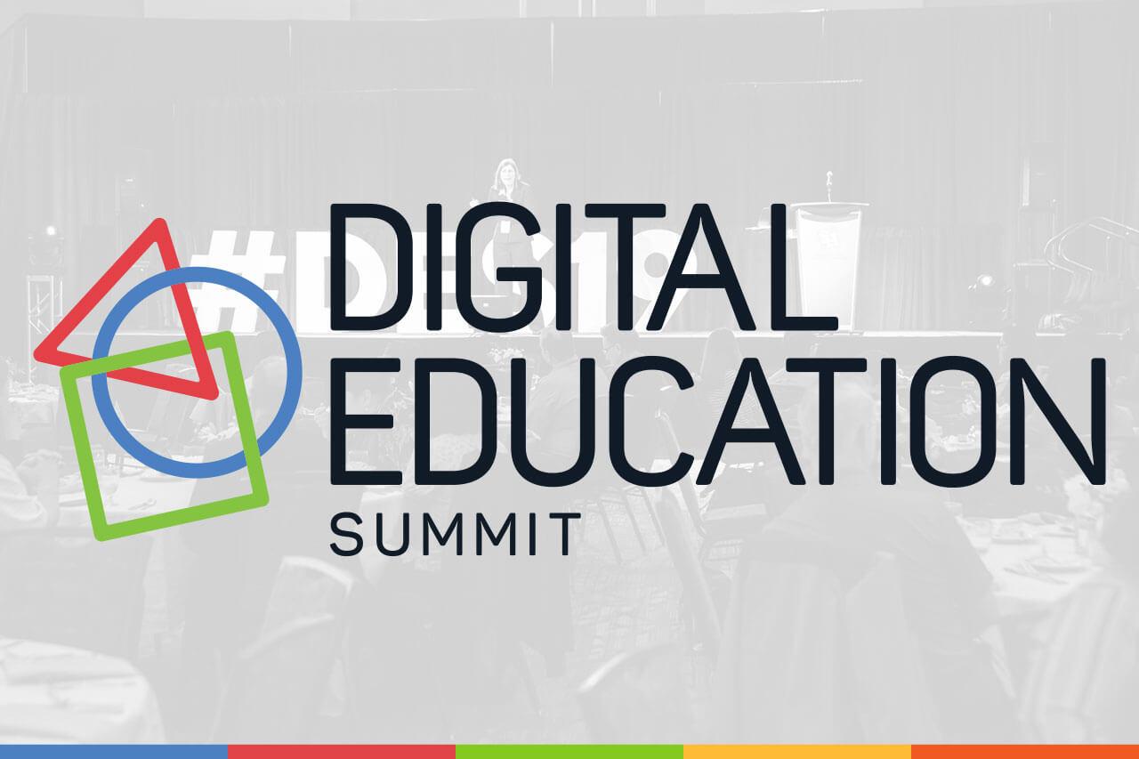 Stylized photo from the 2019 Digital Education Summit keynote.